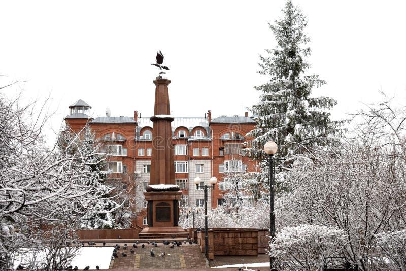Sibirische Wintervögel und -monument lizenzfreie stockfotografie
