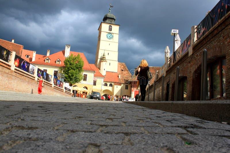 Sibiu - άποψη από κάτω από τους ψεύτες γεφυρών στοκ φωτογραφία με δικαίωμα ελεύθερης χρήσης