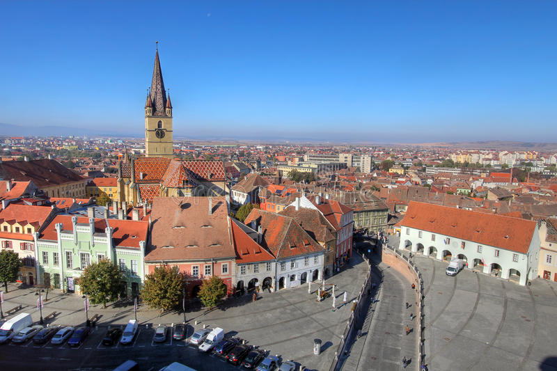 Download Sibiu aerial, Romania stock photo. Image of aerial, sibiu - 21913322