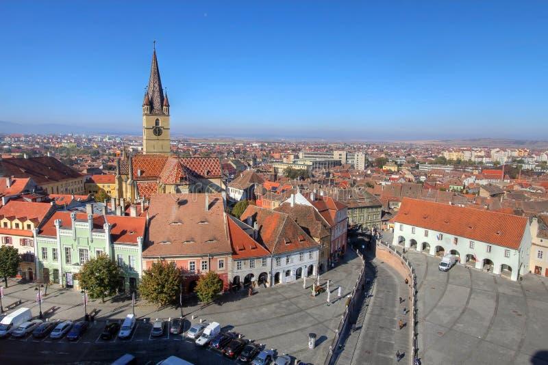 Sibiu Antenne, Roemenië Stock Fotografie