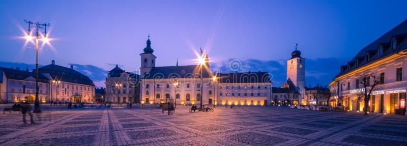 Sibiu Center by night stock image
