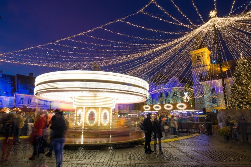 Sibiu Christmas Market in the main square Transylvania Romania stock photos