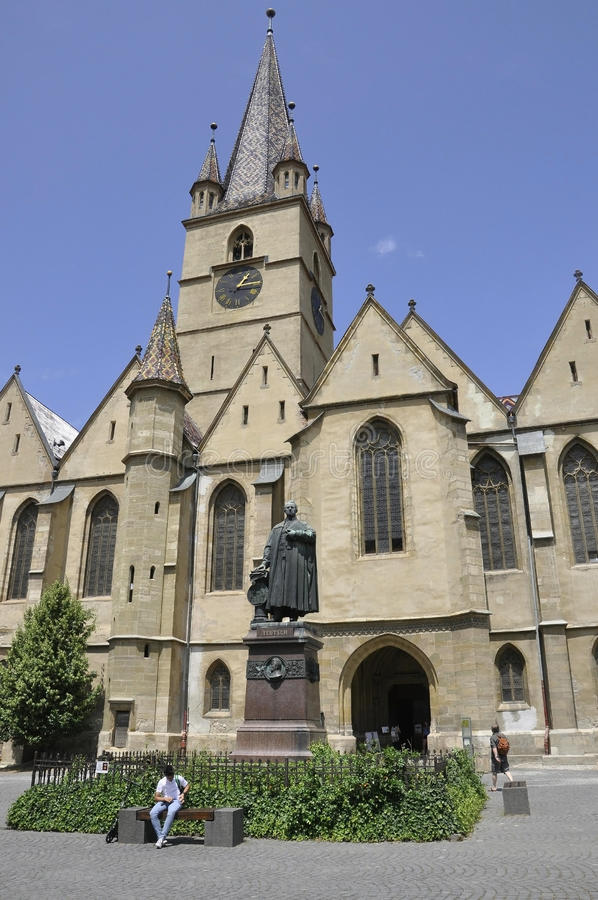 Sibiu, Czerwiec 16: Ewangelicki kościół od śródmieścia Sibiu w Rumunia obrazy stock