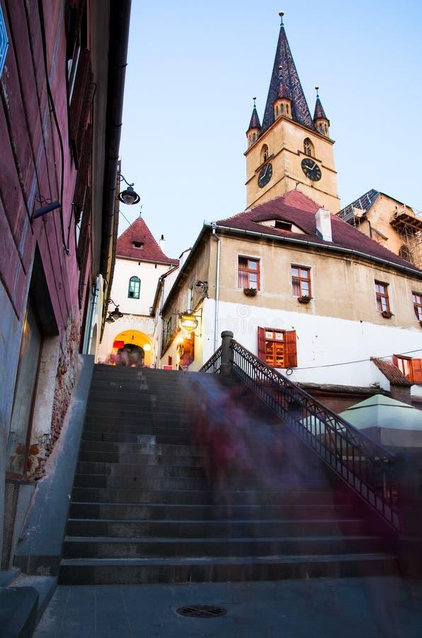 Sibiu em a noite - Romania foto de stock royalty free