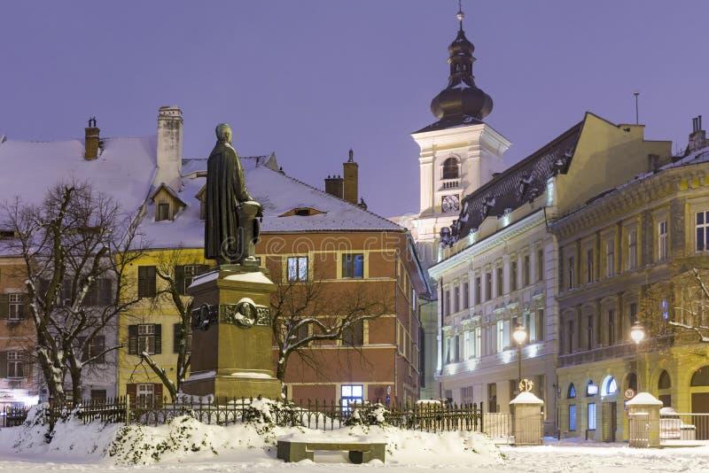 Sibiu en invierno foto de archivo libre de regalías