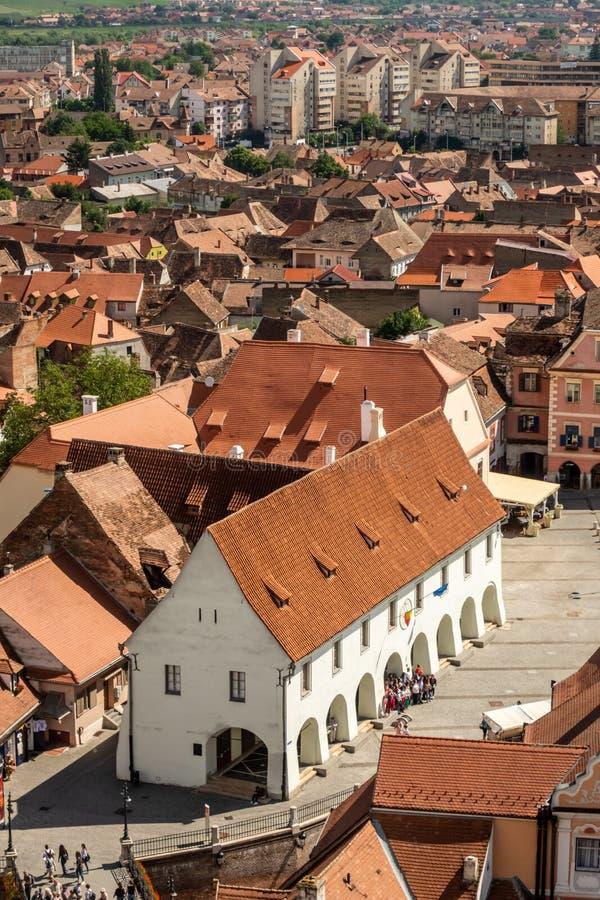 Sibiu Hermannstadt, la Transylvanie, Roumanie d'en haut image libre de droits