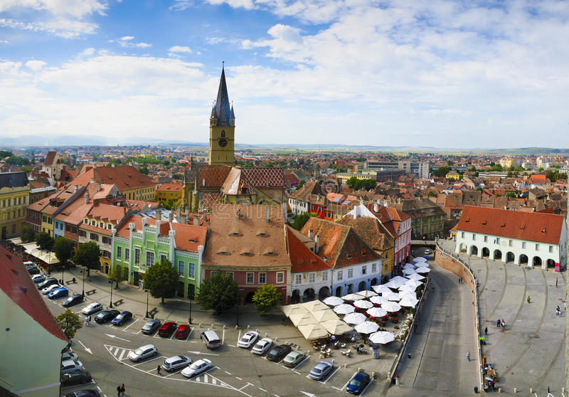 Sibiu (Hermannstadt) in Transsylvanië royalty-vrije stock afbeelding