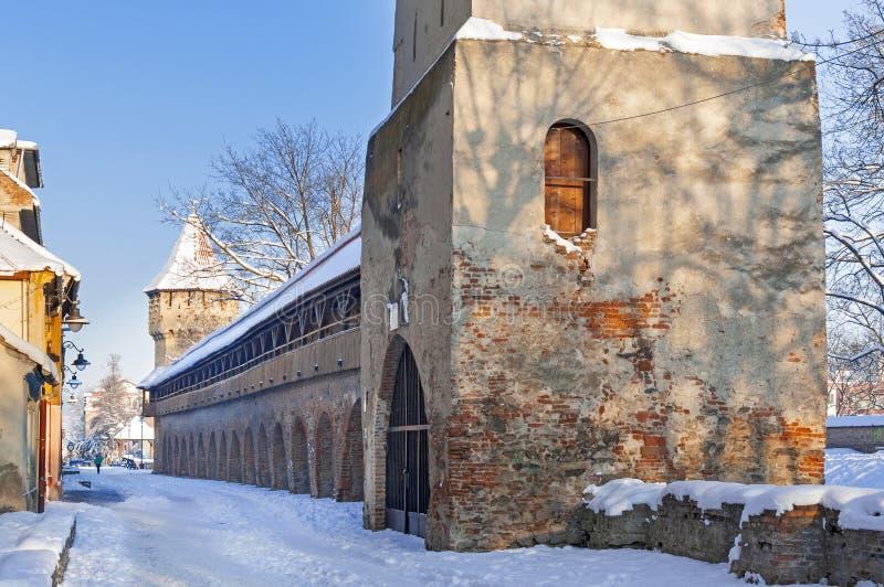Sibiu im Winter lizenzfreie stockfotografie