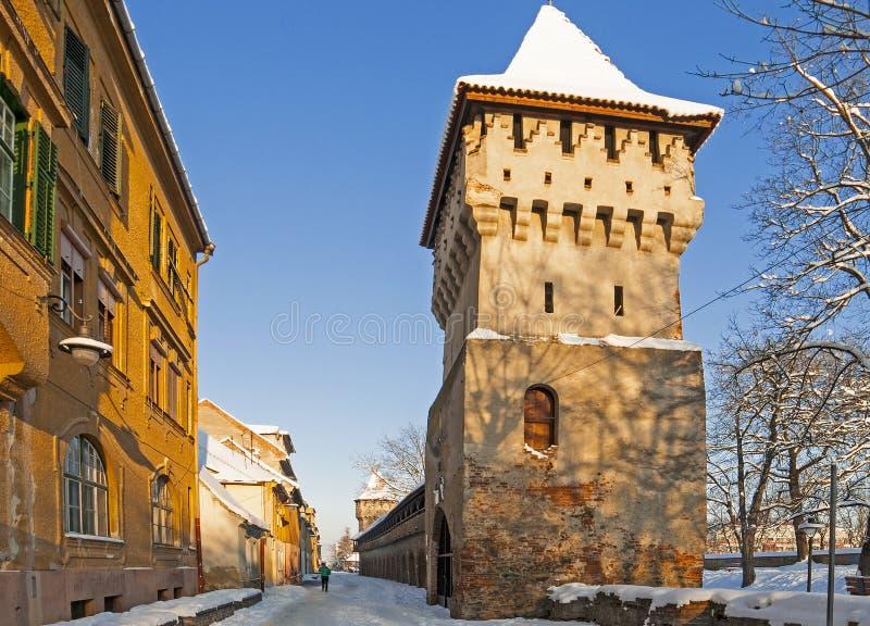 Sibiu im Winter lizenzfreie stockbilder