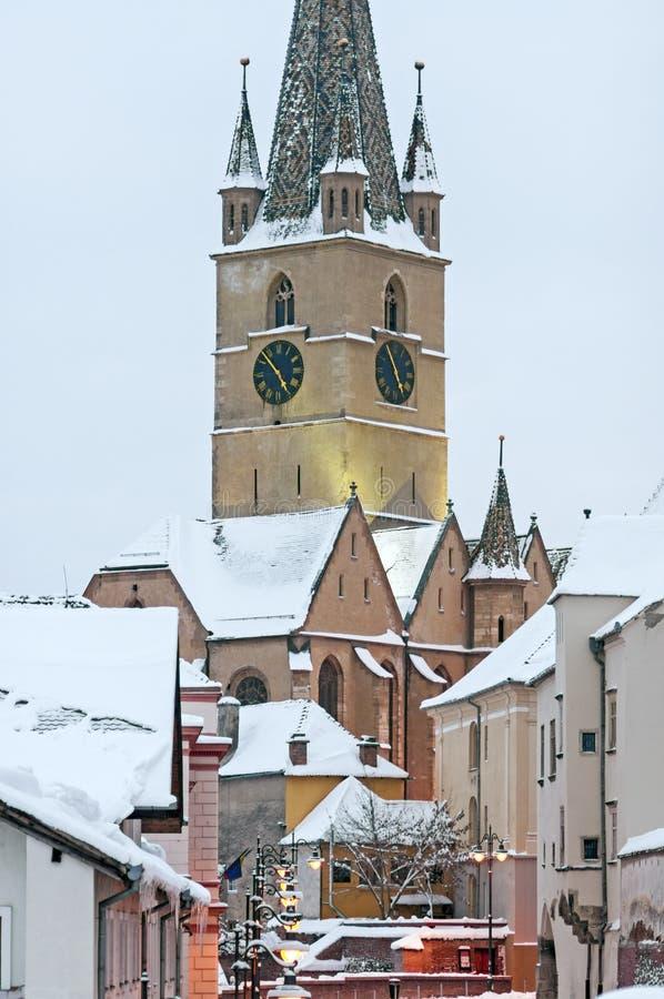 Sibiu im Winter lizenzfreies stockbild