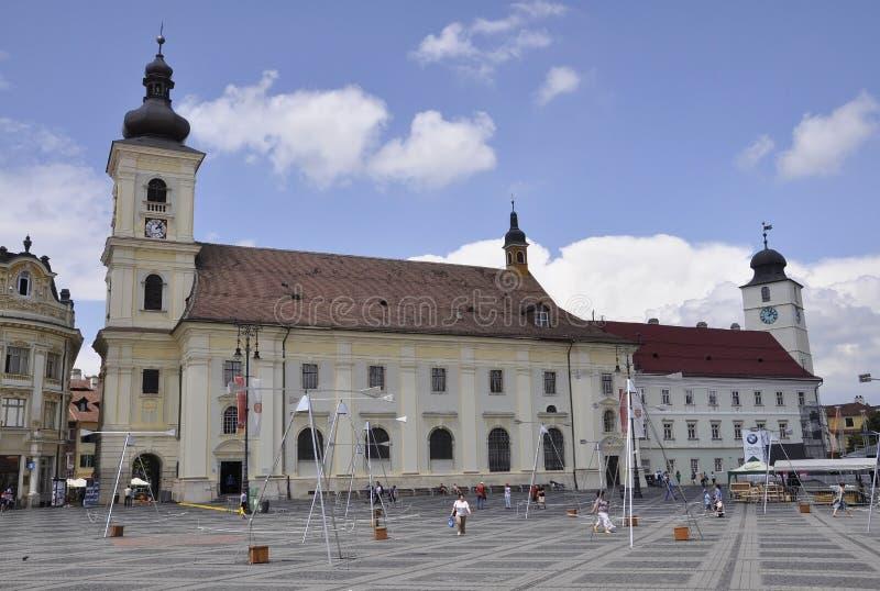 Sibiu,June 16:Catholic Church in Main Square from Sibiu Romania. Catholic Church in main square from Sibiu Romania on june 16 2015 stock image
