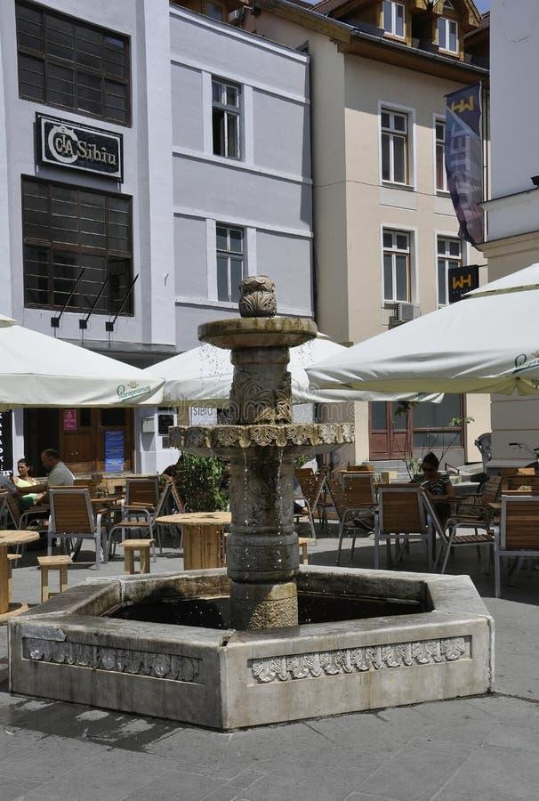 Sibiu,June 16:Fountain from Main Square of Sibiu in Romania. Fountain from Main Square of Sibiu in Romania on June 16 2015 stock photos