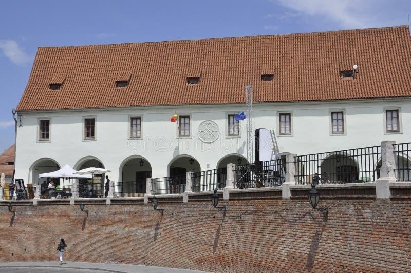 Sibiu,June 16:Historic building from Small Square of Sibiu in Romania. Historic building from Small Square of Sibiu in Romania on June 16 2015 stock photo