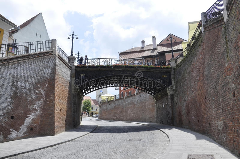 Sibiu,June 16:Lies Bridge from Small Square of Sibiu in Romania. Lies Bridge from Small Square of Sibiu in Romania on June 16 2015 royalty free stock photo