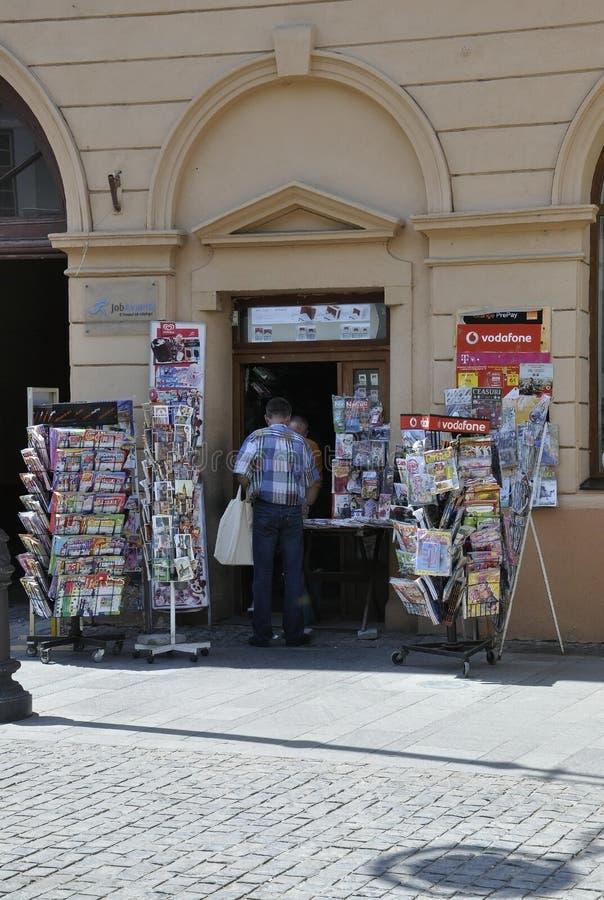 Sibiu,June 16:Press Kiosk close up from Main Square of Sibiu in Romania. Press Kiosk from Main Square of Sibiu in Romania on June 16 2015 stock photography