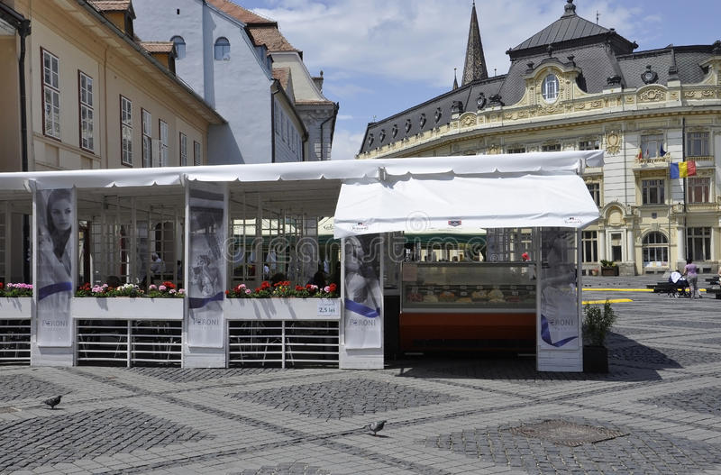 Sibiu,June 16:Terrace from Main Square of Sibiu in Romania. Terrace from Main square of Sibiu in Romania on June 16 2015 royalty free stock photos