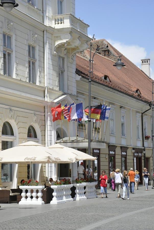Sibiu,June 16:Terrace from Main Square of Sibiu in Romania. Terrace from Main square of Sibiu in Romania on June 16 2015 stock photography