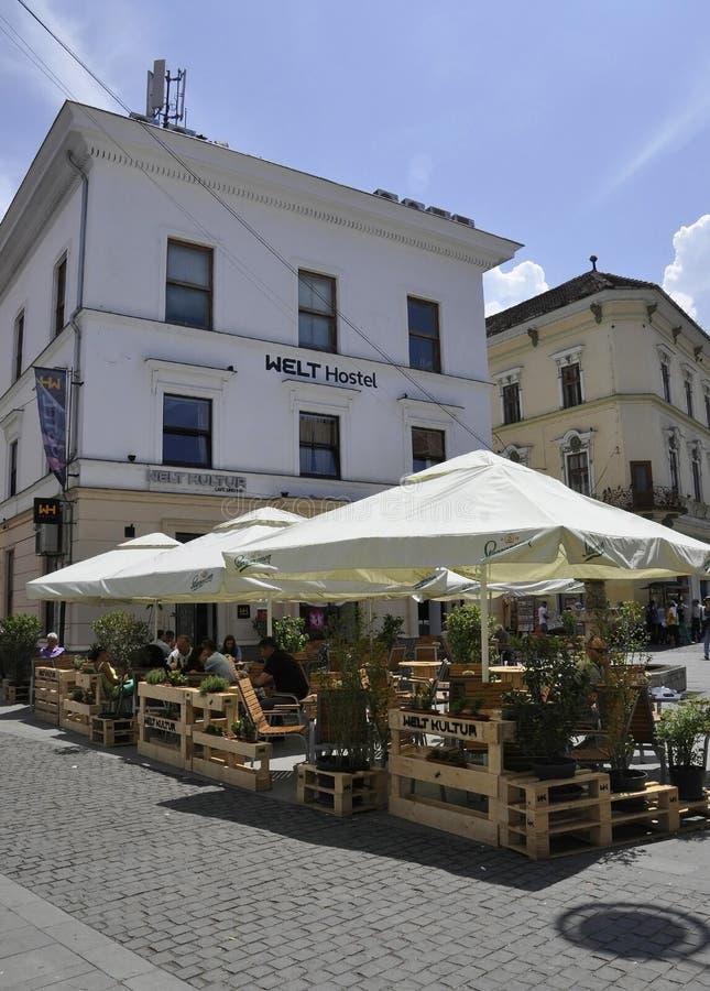 Sibiu,June 16:Terrace from Main Square of Sibiu in Romania. Terrace from Main square of Sibiu in Romania on June 16 2015 royalty free stock photo