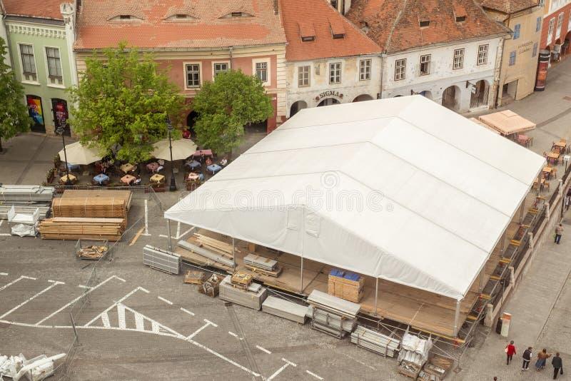 Sibiu liten fyrkant arkivbilder