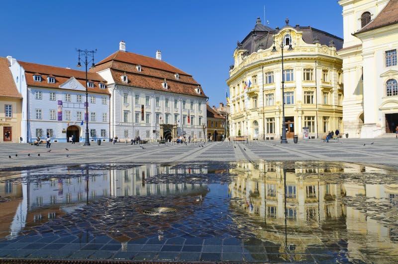 Sibiu-Mitte in Transylvanien lizenzfreie stockbilder