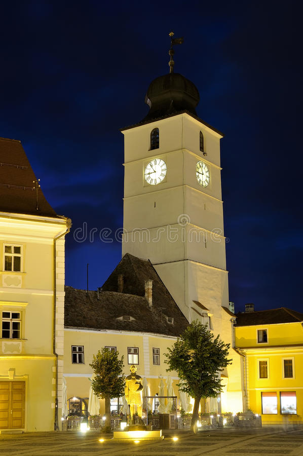 Download Sibiu at night stock photo. Image of saxon, hermannstadt - 16161058