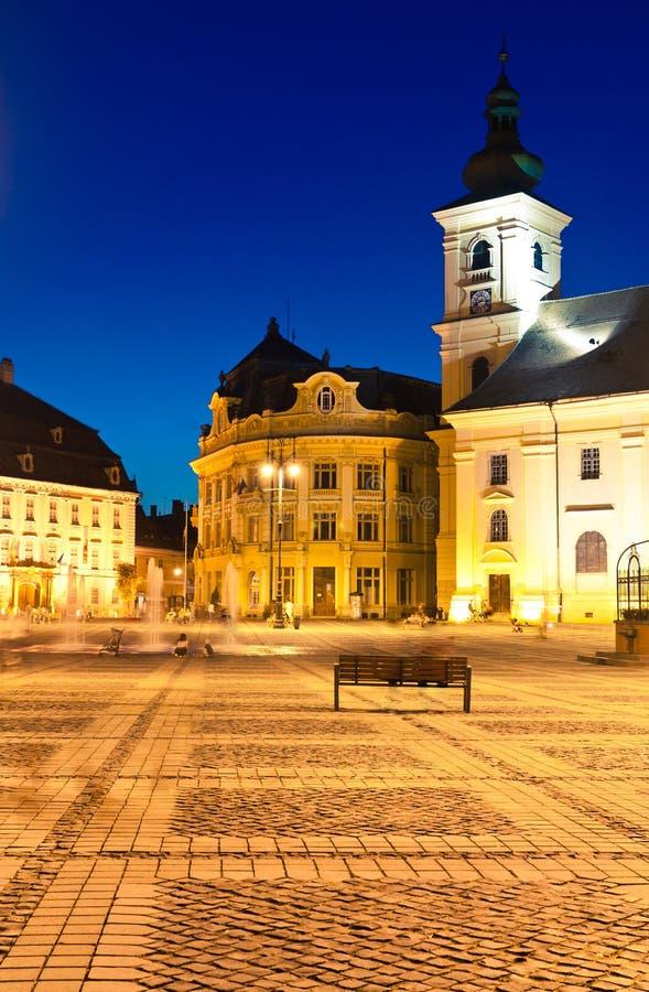 Sibiu - night view royalty free stock images