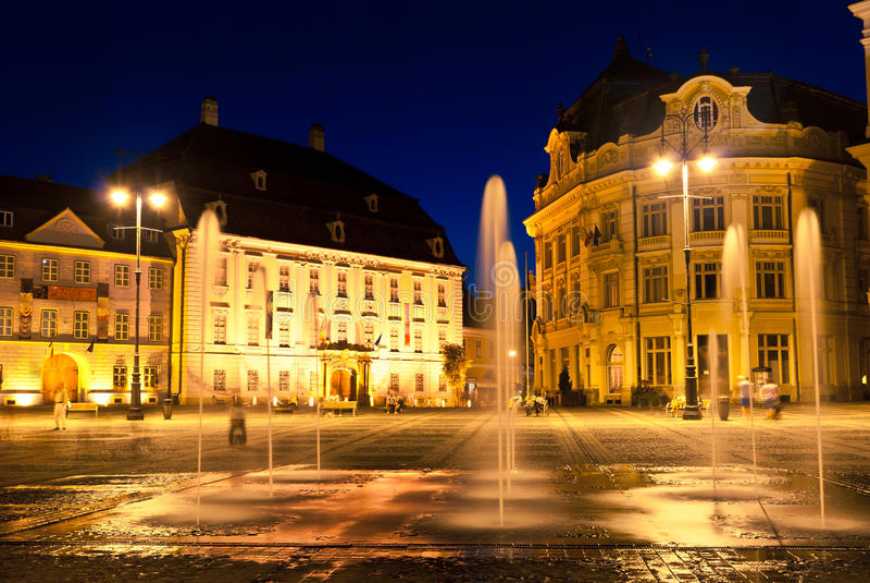 Sibiu - night view royalty free stock photo