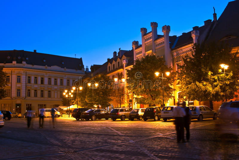 Sibiu - night view stock photography