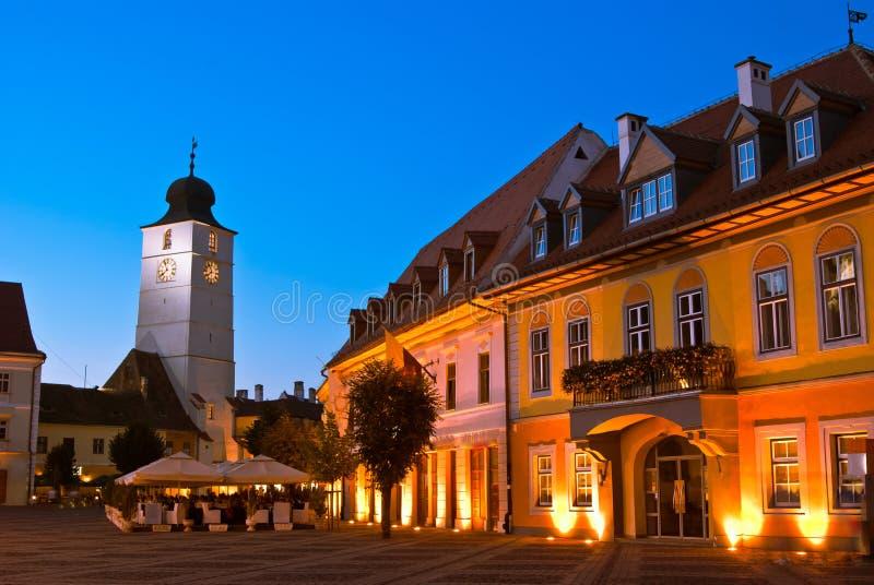 Sibiu - night view stock photo