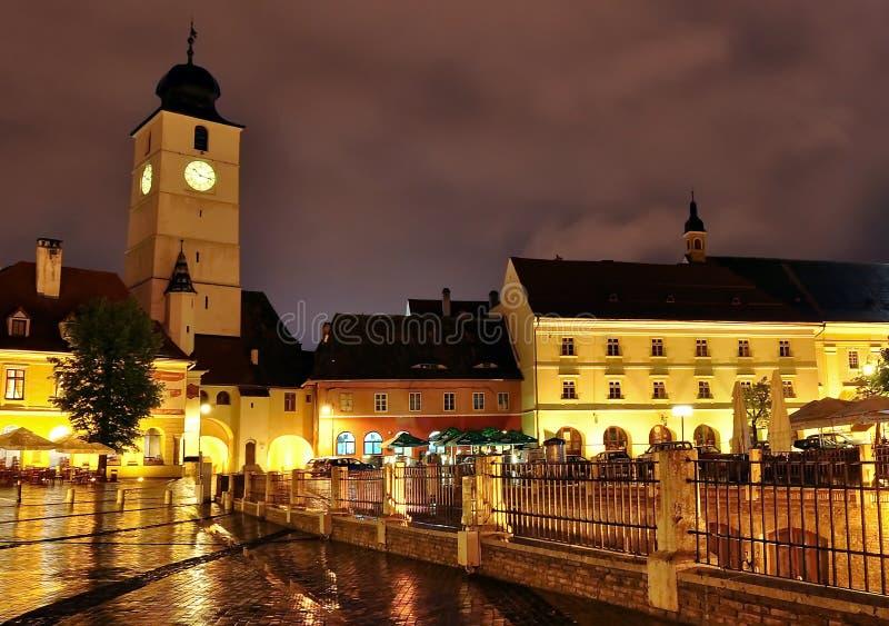 Small Square in Sibiu Romania stock photography