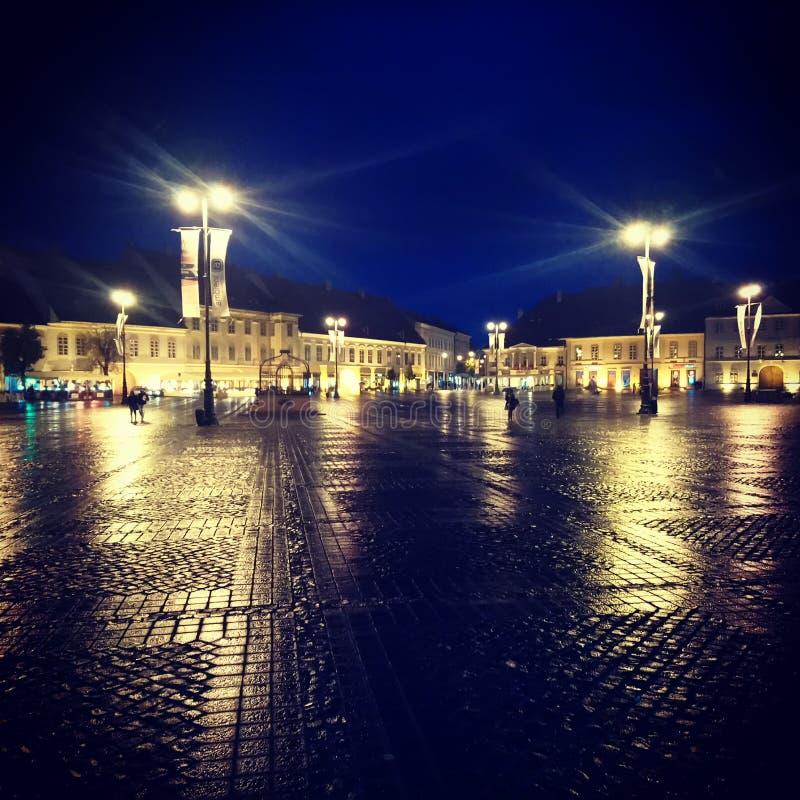Sibiu nightscape mening royalty-vrije stock fotografie