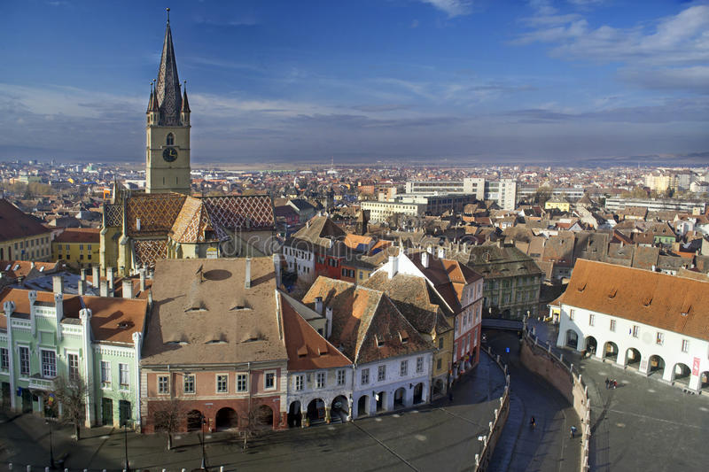 Sibiu oude stad royalty-vrije stock afbeelding
