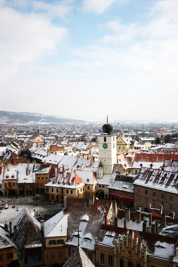 Sibiu-panoramical Ansicht stockfotos