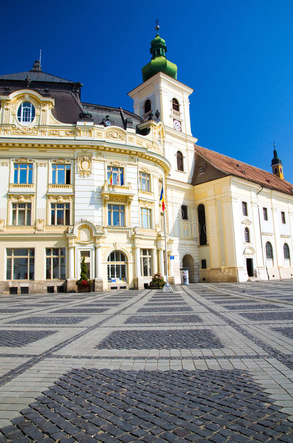 Sibiu - Piata Mare. Piata Mare - The Grand Square is the largest square of Sibiu, and has been the center of the city since the 16th century. Pictured here are royalty free stock images