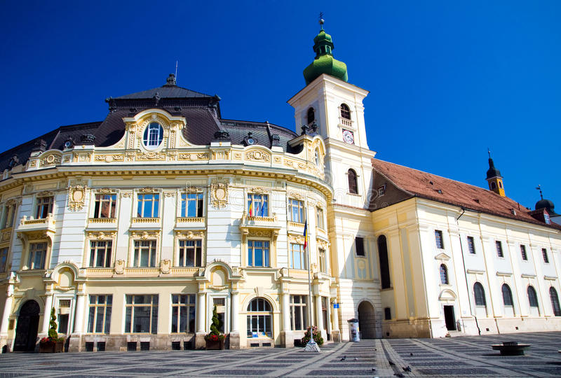 Sibiu - Piata Mare. Piata Mare - The Grand Square is the largest square of Sibiu, and has been the center of the city since the 16th century. Pictured here are royalty free stock photo
