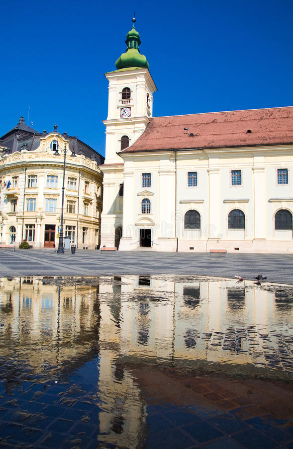 Sibiu - Piata Mare. Piata Mare - The Grand Square is the largest square of Sibiu, and has been the center of the city since the 16th century. Pictured here are stock photo