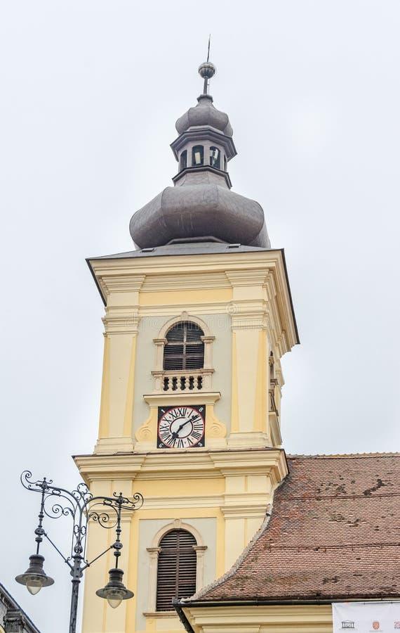 Sibiu, Roemenië: Detail van coupola van de stad de stad in dichtbij wordt gesitueerd die royalty-vrije stock afbeelding
