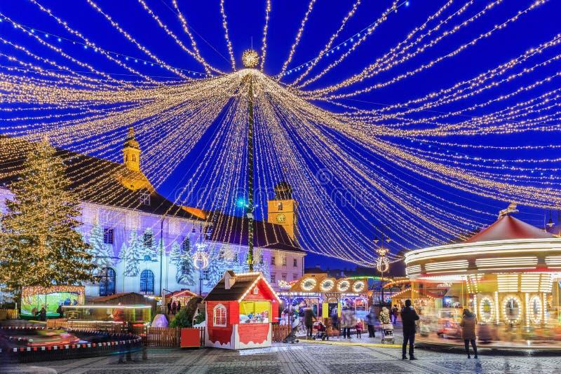 Sibiu, Romania. Christmas Market at twilight stock photography