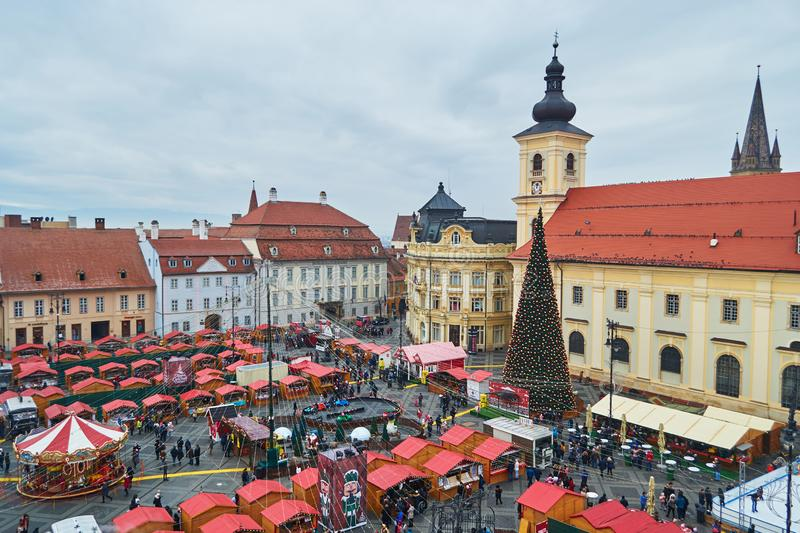 Aerial view of Sibiu Christmas market in the Grand Square Piata Mare during the day, without snow. Sibiu, Romania - December 7, 2019: Aerial view of Sibiu stock photos