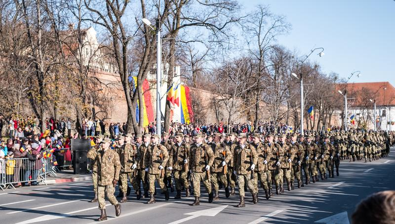 Military Parade on National Day of Romania royalty free stock photo