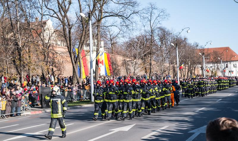 Military Parade on National Day of Romania stock photo