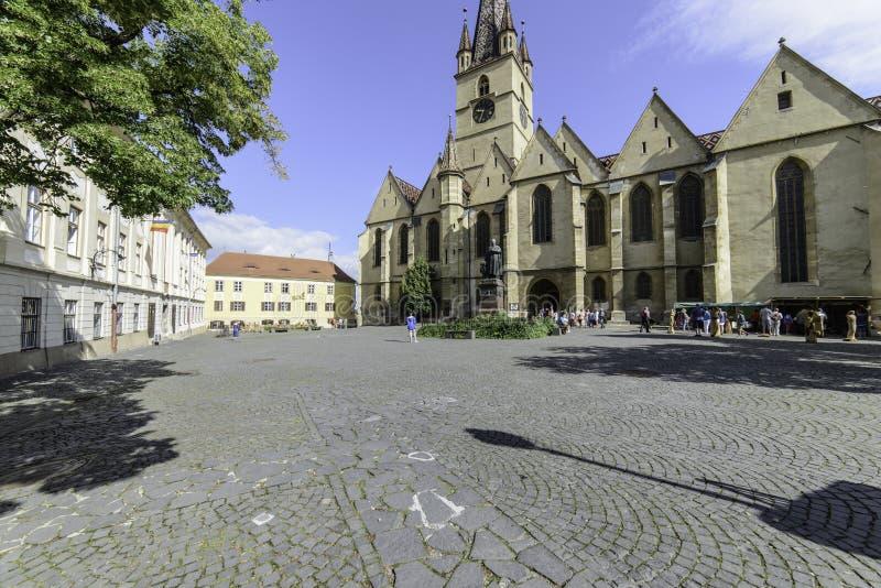 Sibiu, romania, Europa, huet quadrado imagens de stock