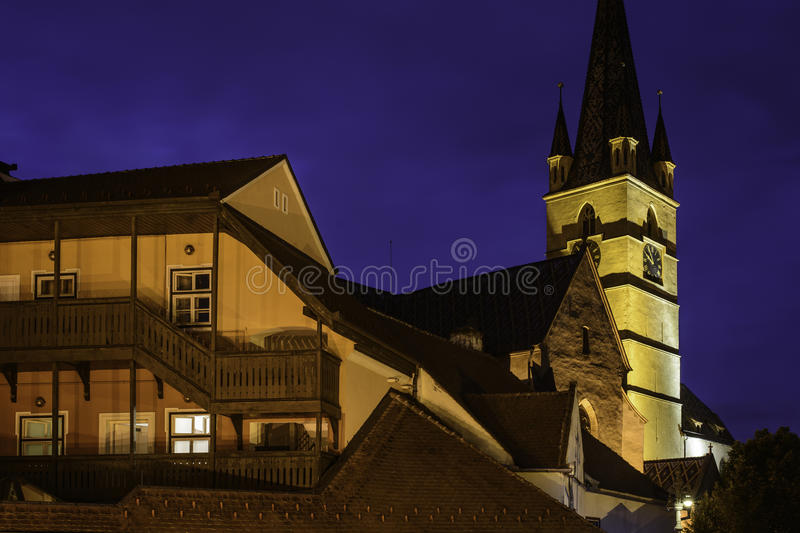 Sibiu, romania, europe, the small square foreshortened royalty free stock photo