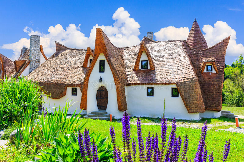 Sibiu, Romania. Fairytale castle of Porumbacu village stock images