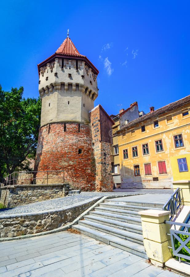 Sibiu, Romania : The famous Tower of the Carpenters - on the Cetatii street in a beautifull day stock photo