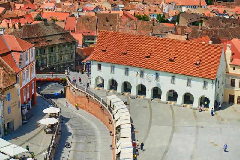 Aerial view of Arts House - Butchers Guild Hall Casa Artelor and Liers Bridge in Sibiu, Romania, on a sunny day. Tourism concept royalty free stock photography