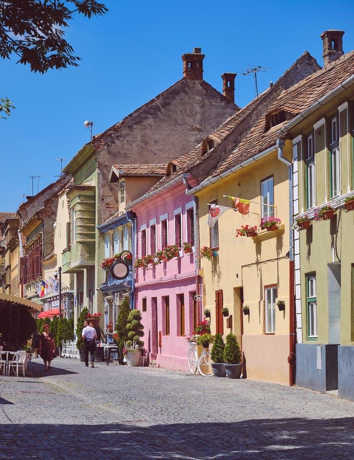 Street of Sibiu Romania stock photos