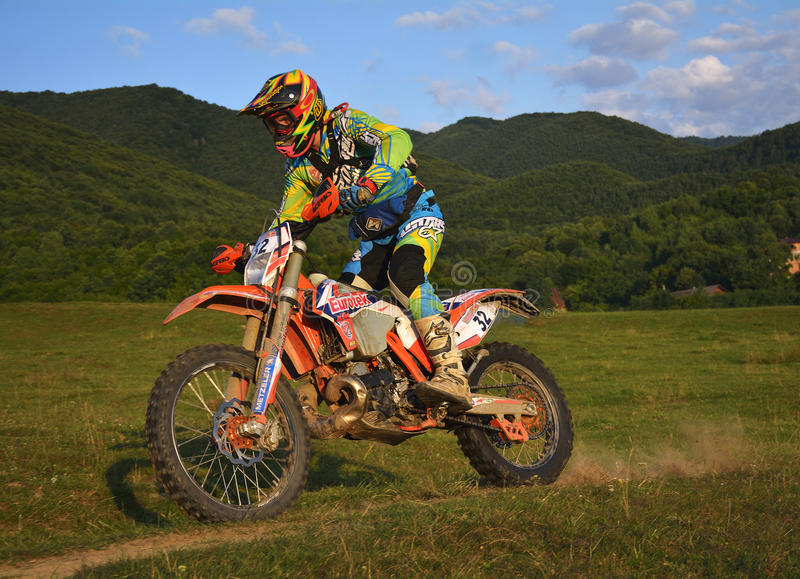SIBIU, ROMANIA - JULY 16: Jonathan Richardson competing in Red Bull ROMANIACS Hard Enduro Rally with a Eurotek ktm motorcycle. The royalty free stock images