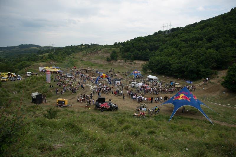 SIBIU, ROMANIA, JULY 16, 2016: Overview at Red Bull ROMANIACS Hard Enduro Rally the hardest enduro stock photos