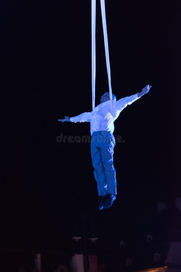 SIBIU, ROMANIA - 17 JUNE 2016: A member of the VOALA Station performing in the Big Square during Sibiu International Theatre Festi. Val, Sibiu, Romania stock photography